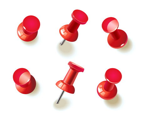 Collection of various red push pins. Thumbtacks. Top view. Vector illustration. Isolated on white background. Set. Front view. Top view. Close up. Vectores