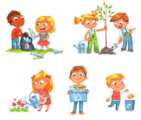 seedlings: Save Earth. Waste recycling. Children planted young trees. Girl watering flowers from watering can. Kids gathering plastic bottles for recycling. Boy throws litter into bin. Isolated white background