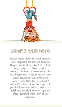 Child holding empty blank poster hung upside down. Template for advertising brochure. Ready for your message. Space for text. Funny cartoon character. Vector illustration. Isolated on white background