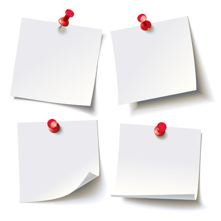 memo pad: Collection of various white note papers with curled corner, pinned red pushbutton, ready for your message. Vector illustration. Isolated on white background. Front view. Top view. Close up.