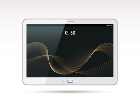 Realistic white tablet pc computer. With waves on screen. Vector illustration. Isolated on white background. Front view. Top view. Close up. Illustration