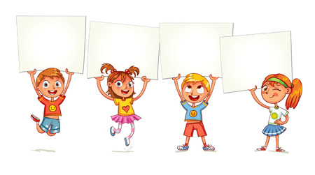 Children holding empty blank board. Kids are raised up posters. Holiday, celebration, festivity. Ready for your message. Space for text. Funny cartoon character. Isolated on white background Vectores