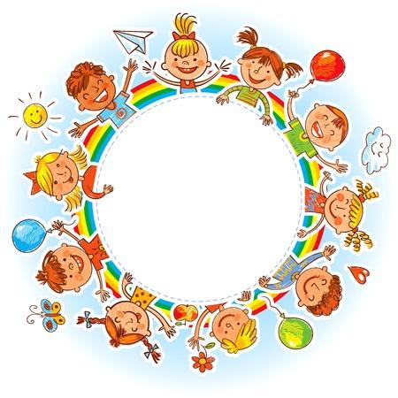 jardin de infantes: Niños felices que sostienen el cartel en blanco. Listo para su mensaje. En el estilo de los dibujos infantiles. Dibujo a mano alzada. Ilustración del vector. Aislado en el fondo blanco