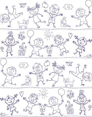 jardin de infantes: doodle de dibujos animados feliz niño. En el estilo de los dibujos infantiles. Patrón sin fisuras. Dibujo a mano alzada. Ilustración del vector. Aislado en el fondo blanco Vectores
