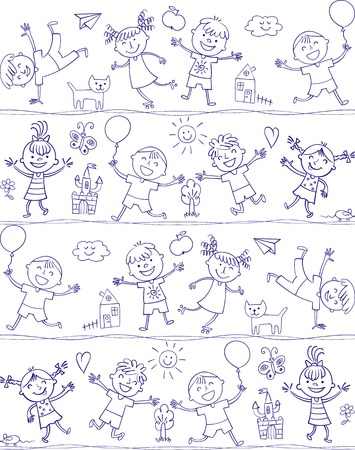kinder garden: Happy kid cartoon doodle. In the style of childrens drawings. Seamless pattern. Freehand drawing. Vector illustration. Isolated on white background
