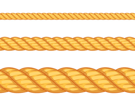 Seamless rope. Top view. Vector illustration. Isolated on white background. Set