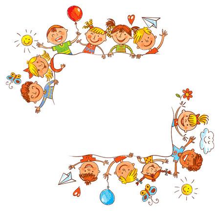 dessin enfants: Groupe d'enfants avec tableau blanc vierge. Prêt pour votre message. Dans le style des dessins d'enfants. dessin Freehand. Vector illustration. Isolé sur fond blanc