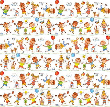 jardin de infantes: Modelo ornamental inconsútil para los niños, sitios web, la industria textil, revistas. En el estilo de los dibujos infantiles. Dibujo a mano alzada. Ilustración del vector. Aislado en el fondo blanco Vectores
