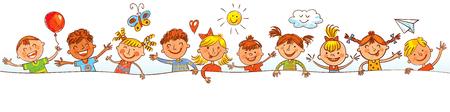 Kids gluren achter bordje. Klaar voor uw bericht. In de stijl van kindertekeningen. Vrije hand tekening. Vector illustratie. Geïsoleerd op witte achtergrond Stock Illustratie