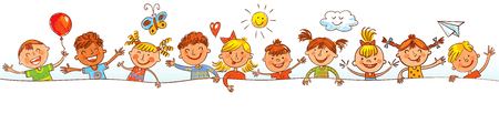 Les enfants lorgnant derrière placard. Prêt pour votre message. Dans le style des dessins d'enfants. dessin Freehand. Vector illustration. Isolé sur fond blanc Banque d'images - 69019286