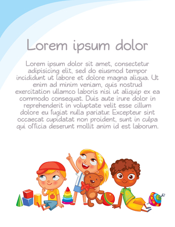 kinder garden: Playground. Colorful template for advertising brochure. Ready for your message. Children look up with interest. Kid pointing at a blank template. Funny cartoon character. Vector illustration Illustration