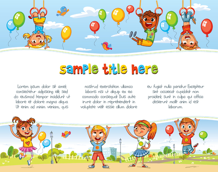 Playing in Amusement park. Playground. Happy children holding blank poster. Template for advertising brochure. Ready for your message. Space for text. Funny cartoon character. Vector illustration Иллюстрация