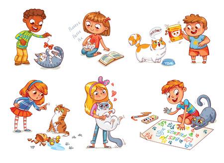 Vector children: Boy trêu chọc mèo. Ít mèo ngủ thiếp đi trong lòng của chủ sở hữu. mèo ú xin thức ăn. Cô gái la mắng con vật cưng cho sự bất tuân và những thứ bị hỏng. Boy và mèo cùng nhau vẽ bức tranh. nhân vật hoạt hình hài hước