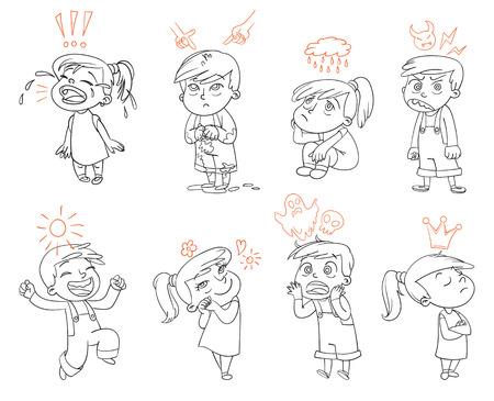 emociones básicas. Mad, tristeza, alegría, miedo, amor. personaje de dibujos animados divertido. Ilustración del vector. Aislado en el fondo blanco. Libro de colorear Ilustración de vector