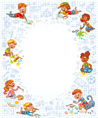 kid drawing: Little kid lying on her stomach and making drawing on a sheet of exercise book. Template for advertising brochure. Ready for your message. Space for text. Funny cartoon character. Vector illustration