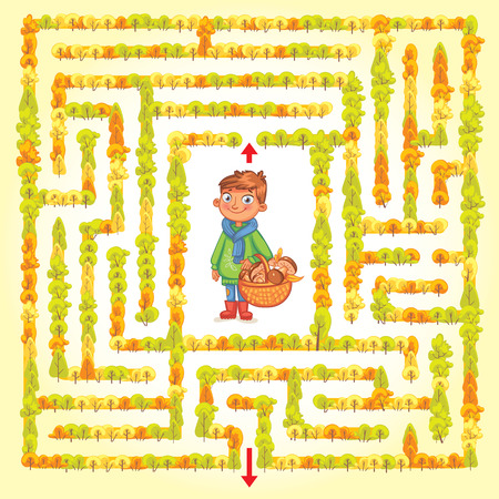 Help the boy find a way out of the woods. Maze Game with Solution. Funny cartoon character. Tangled lines. Vector illustration