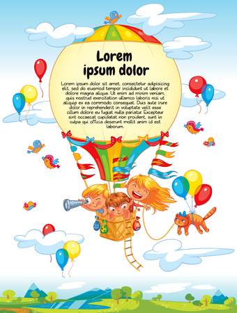 Cheerful travel to a hot air balloon. Colorful template for advertising brochure. Ready for your message. Lorem ipsum. Funny cartoon character. Vector illustration