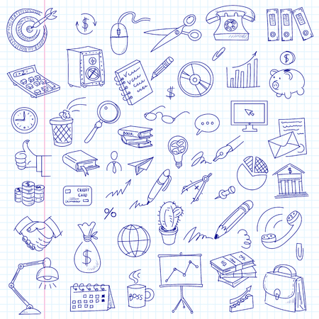 office items: Freehand drawing office items on a sheet of exercise book. Business and Finance. Vector illustration. Set