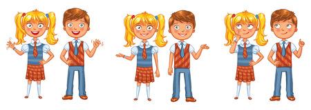 niña pensando: De vuelta a la escuela. Los niños y niñas que presentan junto. personaje de dibujos animados divertido. Ilustración del vector. Aislado en el fondo blanco