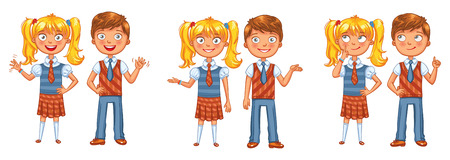 Back to school. Boys and girls posing together. Funny cartoon character. Vector illustration. Isolated on white background