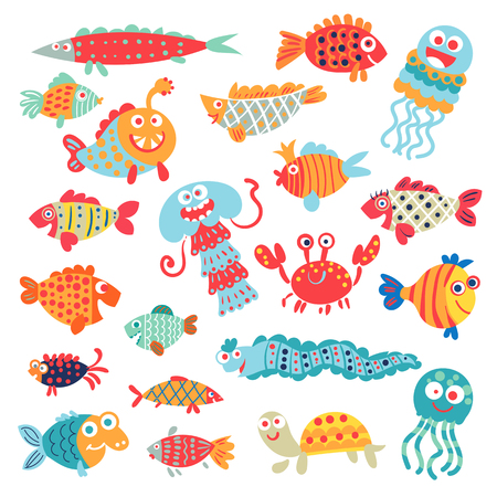 Cute flat fish. A set of flat little animals for childrens ornament. Funny cartoon character. Vector illustration. Isolated on white background