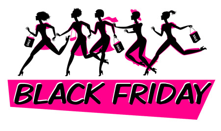 Running woman silhouette with shopping bags. Black friday sale design template. Funny cartoon character. Vector illustration. Isolated on white background Illustration