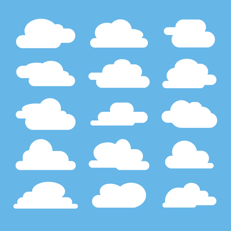 Flat cloud on blue background. Flat icon collection for web, art and app design. Different cloudscape weather symbols. Vector illustration