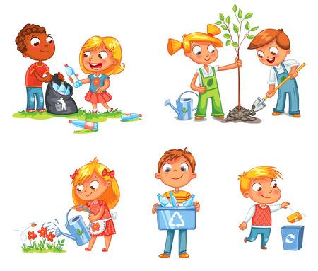 Salvar la Tierra. Reciclaje de residuos. Los niños plantaron árboles jóvenes. Chica regando flores de una regadera. Niños agrupando las botellas de plástico para su reciclaje. El muchacho lanza basura en basura. fondo blanco aislado Ilustración de vector