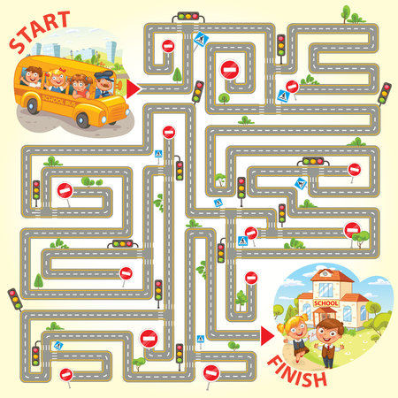 Help the school bus to arrive to school. Maze Game with Solution. Funny cartoon character. Vector illustration