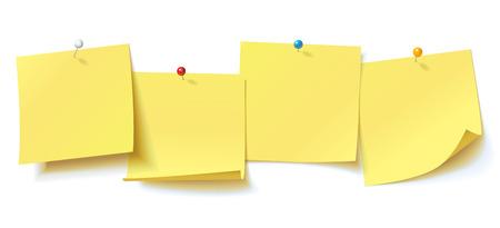 Collection autocollant jaune épinglé bouton-poussoir avec coin recroquevillé, prêt pour votre message. Vector illustration. Isolé sur fond blanc. Vue de face. Vue de dessus. Fermer. Ensemble