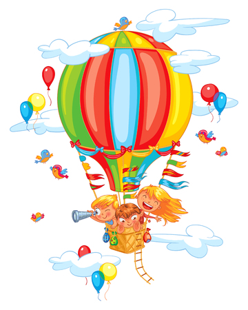 Cartoon kids riding hot air balloon. Funny cartoon character. Vector illustration. Isolated on white background Иллюстрация