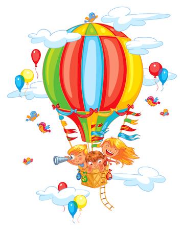 Cartoon kids riding hot air balloon. Funny cartoon character. Vector illustration. Isolated on white background Stock Illustratie