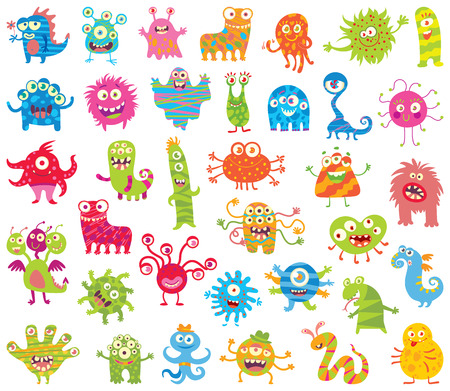 Set of funny little monsters. Seamless ornament. Funny cartoon character. Vector illustration. Isolated on white background. Big Set Иллюстрация