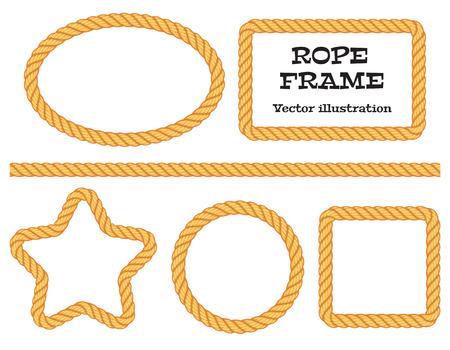 Verschillende touwkader. Bovenaanzicht. Vector illustratie. Geïsoleerd op witte achtergrond. set