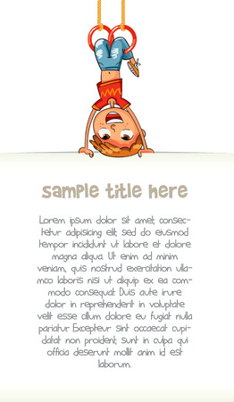 upside: Child holding empty blank poster hung upside down. Template for advertising brochure. Ready for your message. Space for text. Funny cartoon character. Vector illustration. Isolated on white background