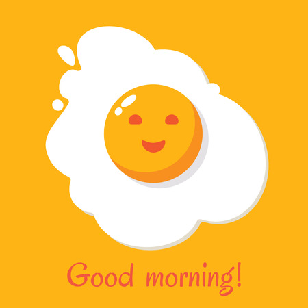 Good morning. Egg breakfast. Fried egg isolated on yellow background. Fried egg flat icon. Scrambled egg. Fried egg in cartoon style. Vector illustration