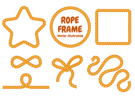 twisted: Different frame ropes. Top view. Vector illustration. Isolated on white background. Set