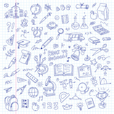Freehand drawing school items on a sheet of exercise book. Back to School. Vector illustration. Set Ilustração
