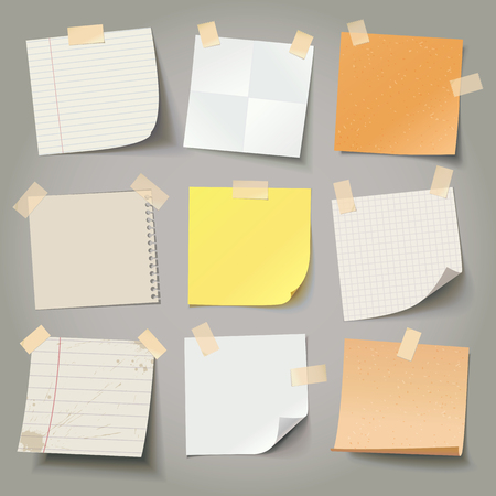 masking: Collection of various crumpled note papers with curled corner and adhesive tape, ready for your message. Vector illustration. Isolated background. Front view. Top view. Close up. Illustration