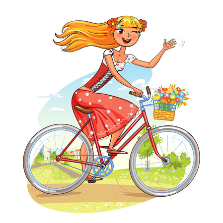 Beautiful girl rides a bicycle and waving. Funny cartoon character. Vector illustration. Isolated on white background Illustration
