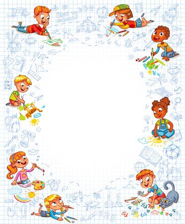 infancia: El niño está acostado boca abajo y hacer el dibujo en una hoja de cuaderno. Plantilla para el folleto publicitario. Listo para su mensaje. Espacio para el texto. personaje de dibujos animados divertido. ilustración vectorial