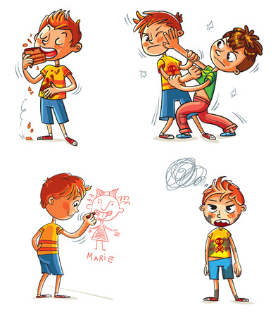 soiled: Bad behavior. Two schoolboys are fighting. Boy eating messily. Boy soiled clothes. Boy writes on a wall. Funny cartoon character. Vector illustration. Isolated on white background. Set