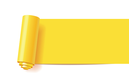 Curl of yellow paper. Web Infographics elements in the form of paper tape for various purposes. Note papers with curled corner ready for your message. Vector illustration. Isolated on white background