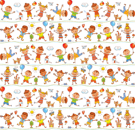 textile industry: Seamless ornamental pattern for kids, web sites, textile industry, magazines. In the style of childrens drawings. Freehand drawing. Vector illustration. Isolated on white background