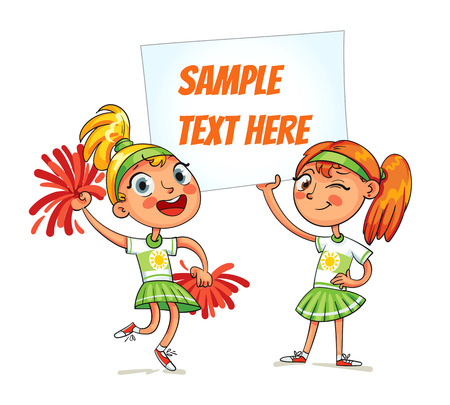 Cheerleaders are holding a poster. Happy children holding blank poster. Ready for your message. Space for text. Infographic. Funny cartoon character. Vector illustration. Isolated on white background