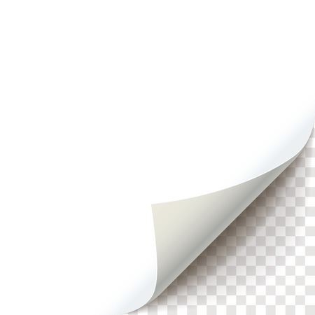 Blank sheet of paper with page curl with transparent shadow. Curly Page Corner realistic illustration. Graphic element for documents, templates, posters, flyers, advertising and promotional message