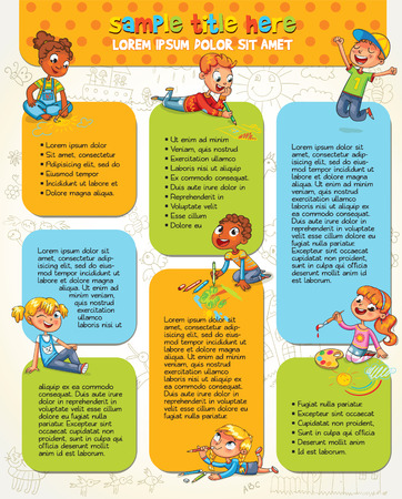 magazine template: Little kid lying on her stomach and making drawing on paper. Colorful template for advertising brochure with cute children. Space for text. Infographic. Funny cartoon character. Vector illustration Illustration