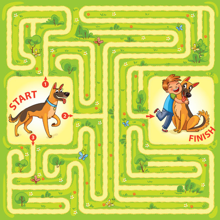 doggie: Help the dog to find the right way and hug the owner. Maze Game with Solution. Tangled lines. Funny cartoon character. Vector illustration