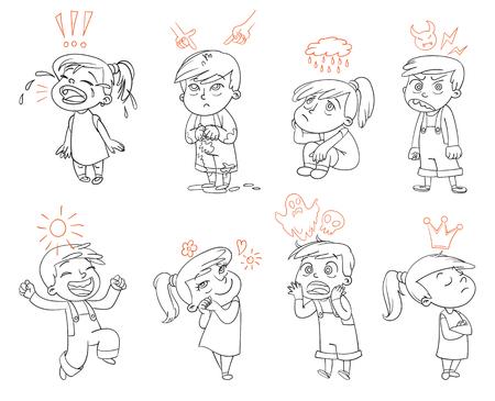 Grund Emotionen. Mad, Sad, Glad, Angst, Liebe. Lustige Zeichentrickfigur. Vektor-Illustration. Isoliert auf weißem Hintergrund. Malbuch Vektorgrafik