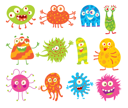 Good monsters. Funny cartoon character. Vector illustration. Isolated on white background. Set